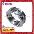 Aço inoxidável anel terminal, anel da classe, símbolo do infinito anel