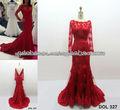 2013 Vestido de Novia con Manga Larga de Tul Rojo Bordado Embellecimiento Cola Larga