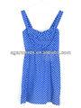 missy azul precioso pequeño floral de impresión con lunares de vestir