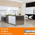diseño blanco del gabinete de cocina de vidrio templado con acero steelisland