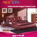 El último suave de cuero rojo ronda de camas, sexy mueblesdeldormitorio en china h9007