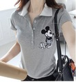 Wholesale china girl half open placket polo shirt with cartoon printing