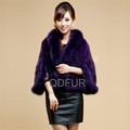 QD11635 moda de invierno chal de piel de visón de las mujeres poncho