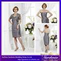 2014 mais recente designer elegante cinza curto querida lombar tafetá mãe da noiva vestidos de renda com jaqueta( ab0294)