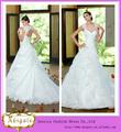 White Hot Apliques Keyhole Volver rizó la falda del Organza del vestido de bola del vestido de boda 2014 (QU0708)