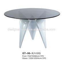 la parte superior de vidrio de fibra de vidrio y base de la mesa para el comedor