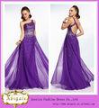 Custom Made shuolder Volver vestidos abiertos Purple One con moldeado Chffion piso vestido de noche árabe (MN1580)
