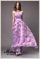 Brillante! Elegancia de color púrpura vestidos de noche de la pizca de flor impresa elegante y sexy correas espaguetis vestido