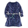 100% algodón de color azul marino impresión vestido del tejido