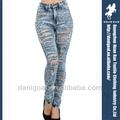 2014 de alta calidad de lavado del agujero de la moda los pantalones vaqueros ripped sexy jeans de mezclilla fábrica