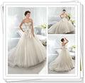 2014 Longitud de Nueva Planta balón vestido de novia de barrido tren vestidos de boda de Tulle de Precios al por Mayor (BG087)