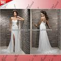 JW0577 Um ombro ata acima chiffon com fenda simples mas elegante vestido de noiva 2013