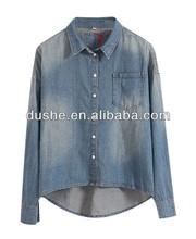 Dongguan u'sake damas denim lavados blusa con alto y bajo s131533 dobladillo