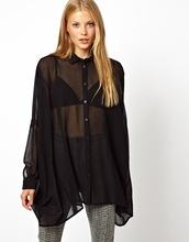 H650012 la mujer de manga larga blusa de gasa transparente