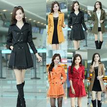 De moda las mujeres trinchera abrigo de manga larga de encaje con el abrigo cinturón G0605