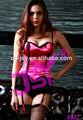 Mulheres sexy espartilho preto com cinta-liga