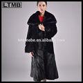 2014 la última moda de piel de conejo rex señoras abrigo con pieles de visón cuello chal de tendencia de diseño elegante