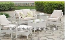 2014 Difundido Blanca Rattan Muebles de jardín Sofá Set 6 piezas Ocio Salón Sofá