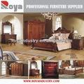 de estilo europeo de madera maciza antiguo tallado juego de dormitorio ex02