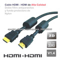 Cable de conexión HDMI - HDMI V1.4 de 5 metros. funda de nylon y doble filtro antiparásitos.