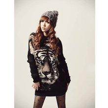 de puente de la mujer del tigre de impresión suéter suéter de géneros de punto con alas de murciélago tops casuales g0080