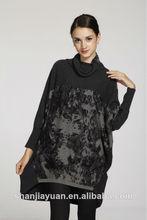 La caída de la moda/de invierno manga murciélago suéter de cachemira de cuello de tortuga vestido