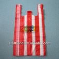 Biodegrdable con rayas de plástico t bolsa de la camisa, las bolsas de comestibles