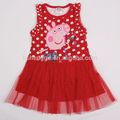 rojo para niñas sin mangas vestido de las niñas vestido casual de cerdo peppa traje de dibujos animados para los niños