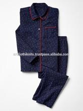 las niñas pijama de franela conjunto con tuberías detalles