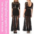 حار بيع الجملة السوداء الدانتيل على فتحة عالية عودة الخامس ماكسي فستان ملابس النمط الكوري