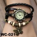 Moda mariposa de cuero reloj pulsera reloj de la mariposa