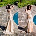 Couleur champagne sirène applique élégante manches en dentelle robes du soir longues/indien. robe de bal robes de soirée