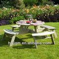 4 plazas de madera mesa de camping