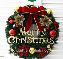 Lucky guirnalda de Navidad artificial con adornos de oro