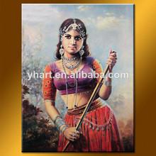 venta al por mayor de arte hecho a mano de la imagen de la mujer de la india de pintura de retrato