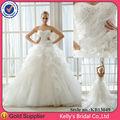 cariño escote plisado corpiño corset flores falda con volantes de vestidos de novia