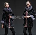 QD28022 abrigo de piel de visón con cuello de piel de zorro