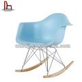 Abs pp diseño moderno rar de plástico eames rocker silla con patas de metal/eames sillón