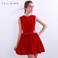 estrellas de la moda de terciopelo rojo vestido de fiesta hecho en china