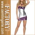 púrpura y astilla patchwork lentejuelas sexy vestido