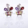 Mariées or, 18k pierres précieuses boucles d'oreilles plaqué or bijoux de zircon
