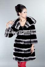 Ltmb 2014 moda elegante ladies' piel de conejo rex abrigo largo de chinchilla diseño buscando cinturón de seda