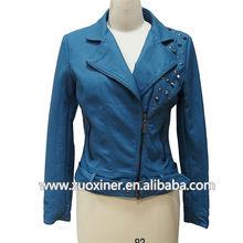2014 prendas de vestir de cuero teñido de invierno chaquetas de las mujeres