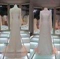 amostra real de manga longa gola alta renda muçulmano vestido de noiva vestidos de noiva