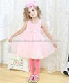 tres capas de encaje de tul bowknot vestidos de noche de color rosa para los niños