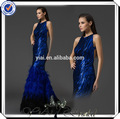 gt0048 cabestro cuello azul marino elegante pluma de avestruz vestido de noche