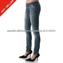 (#TG148W) 2013 último diseño tela vaquera pantalones vaqueros
