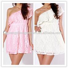 2014 la única mujer un hombro con volantes de encaje de verano de cóctel fiesta de baile vestido corto fabricados en china