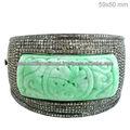 Sculpture de jade naturel pavé de diamants bracelet, sculpture sur pierre bracelet, 14k bracelet en or jaune