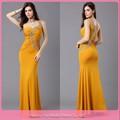 baratos dl664 amarillo de gasa vestido de los últimos diseños para las señoras